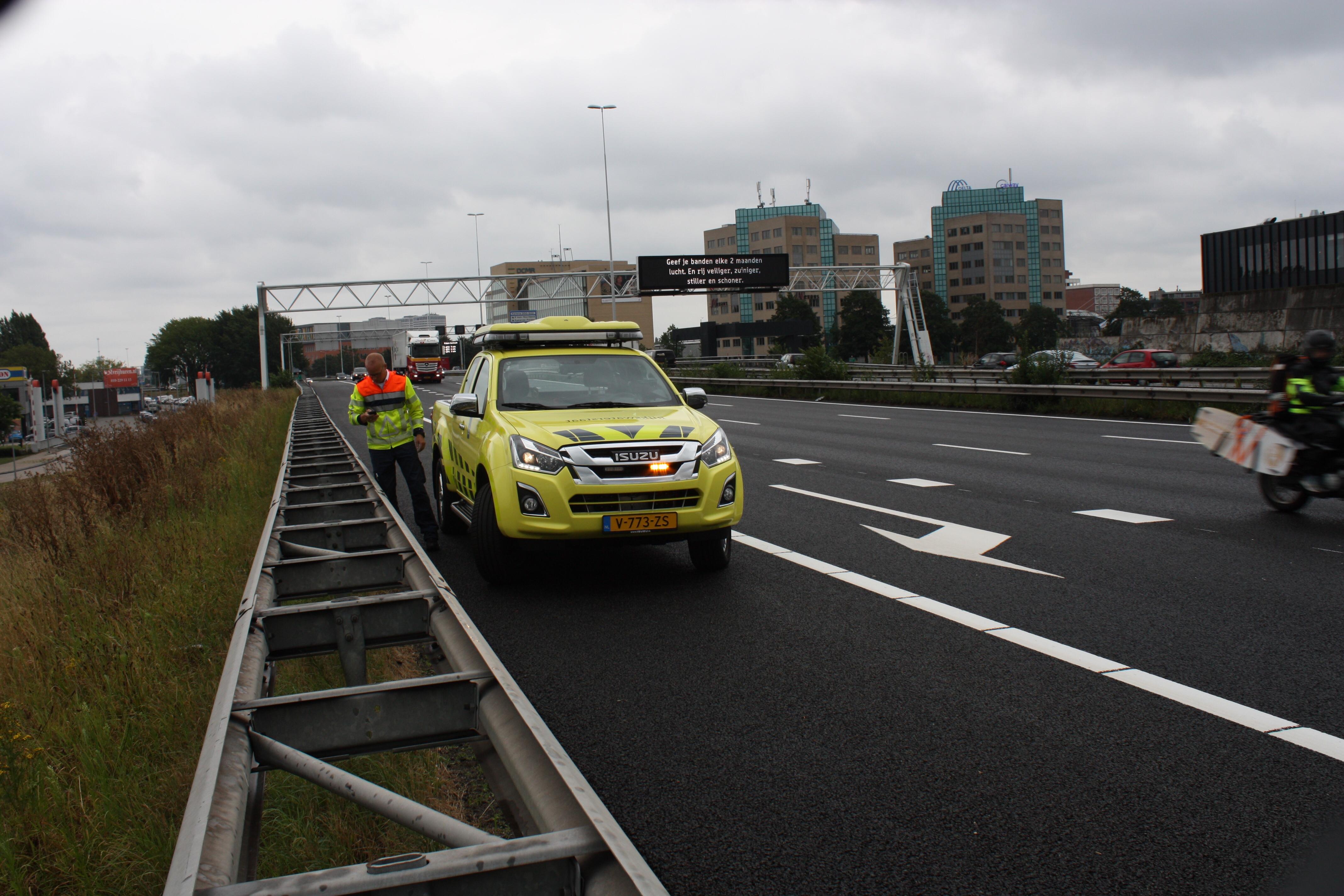Spanband op afrit 11 Schiedam A20