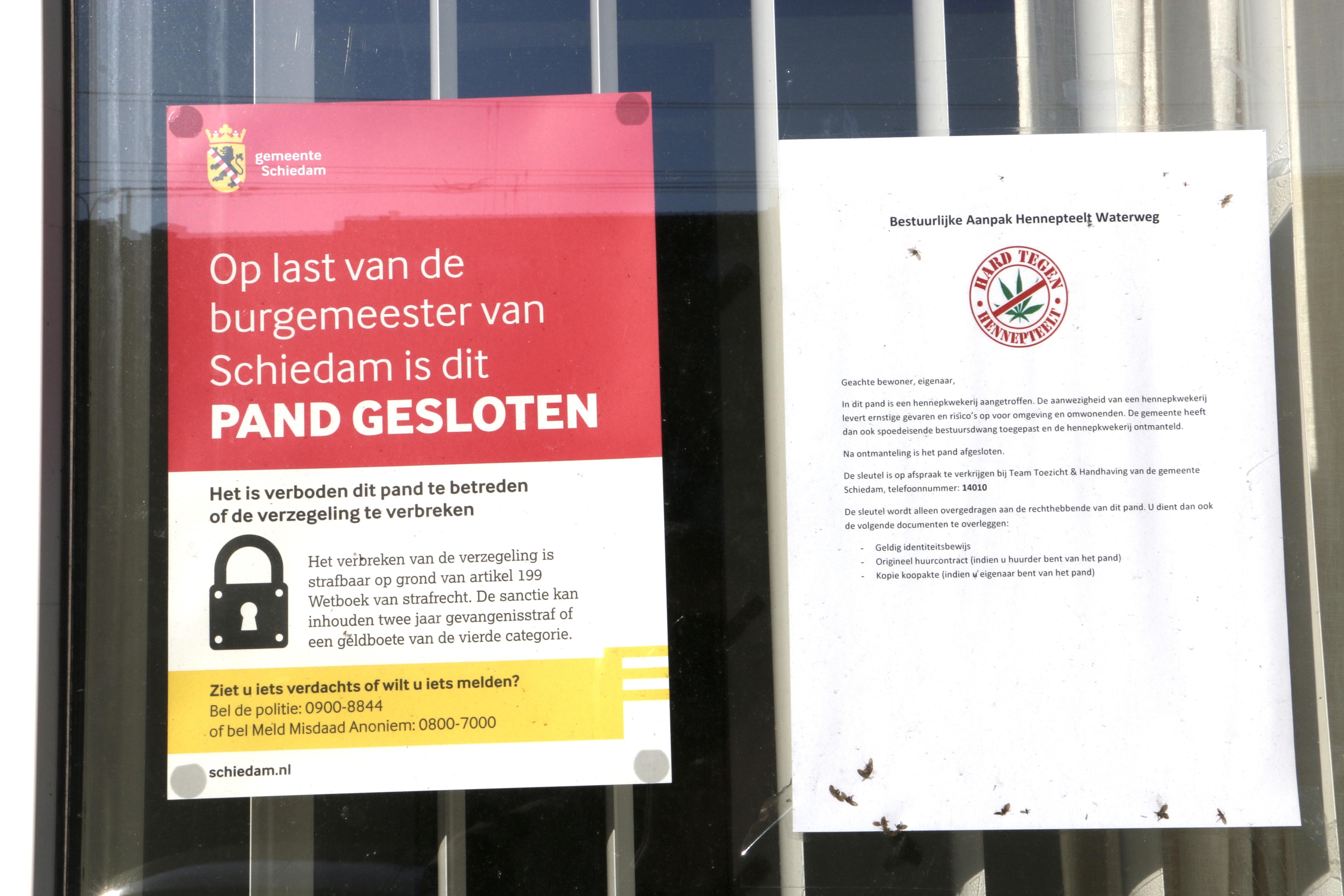 Woning op de Rotterdamsedijk gesloten na vondst hennepkwekerij.