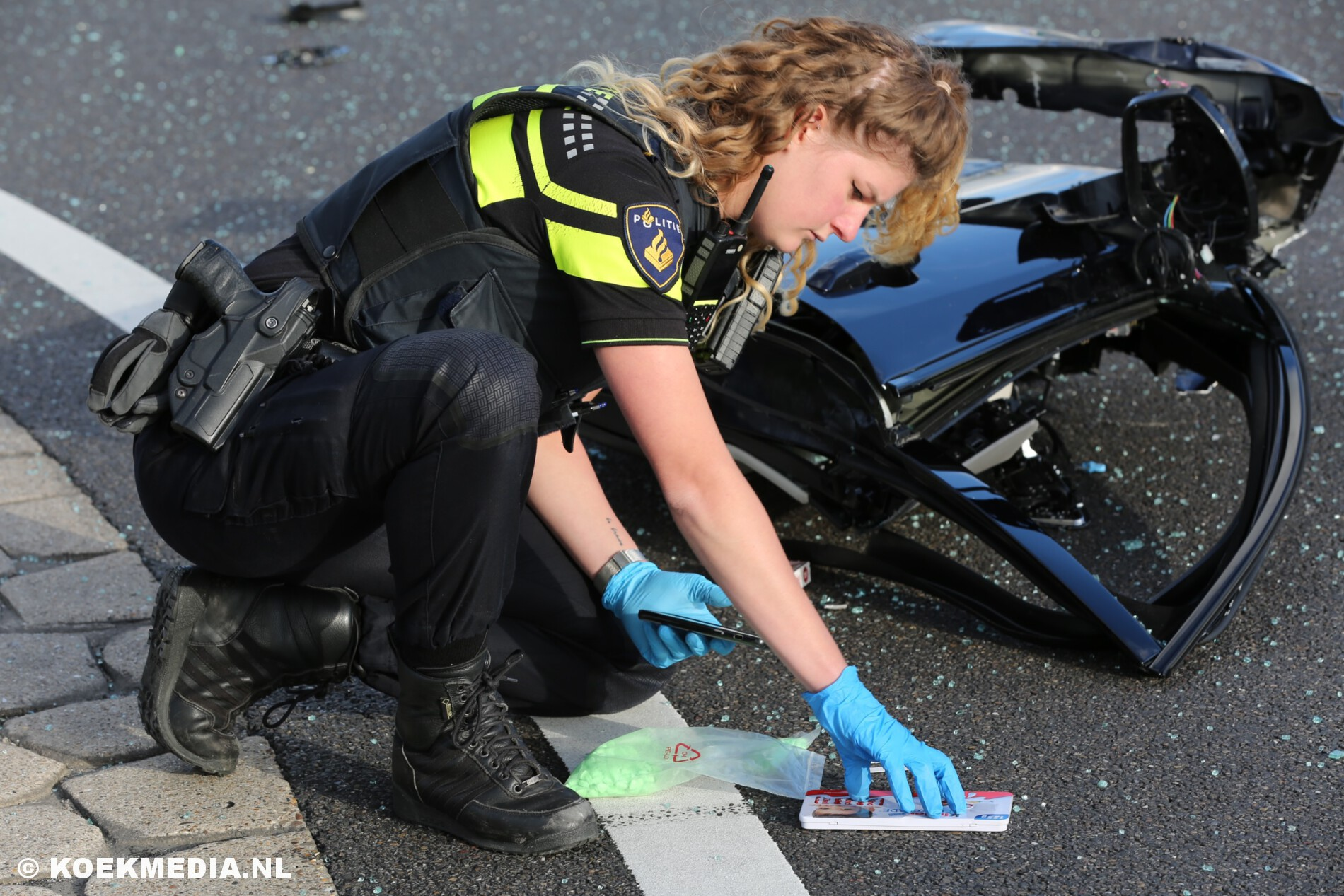 Harddrugs aangetroffen in gecrashte auto Veilingroute