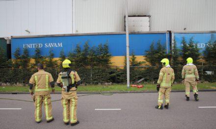 Brand in vrachtwagentrailer TransportWeg Maasdijk